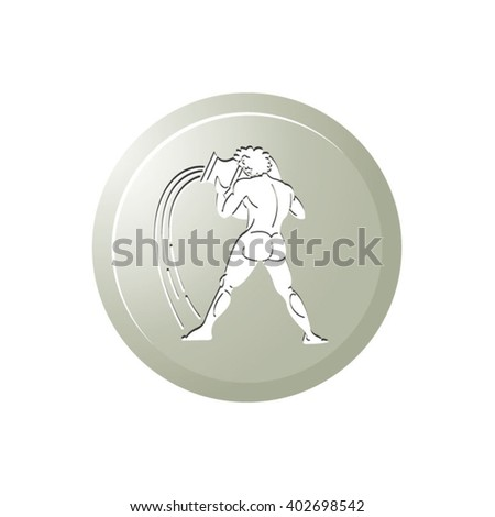 white aquarius sign in tan color background