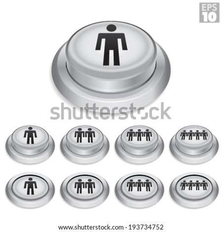 White Arcade Button With Player One, Two, Three And Four Icon. Also includes On/Off Button State. - stock vector