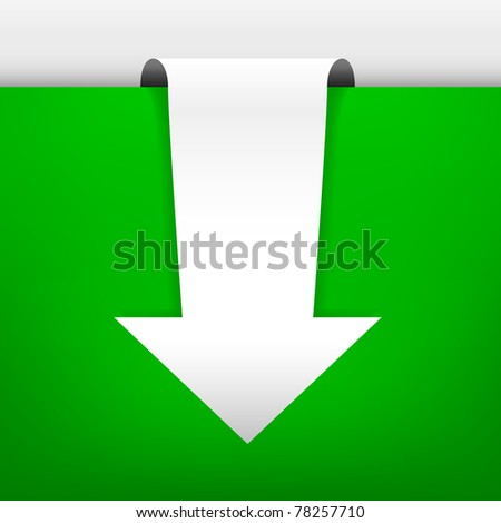 White arrow in an illuminated scene. The shadows and the green background are in gradient mesh. Separated in layers for best edition. - stock vector