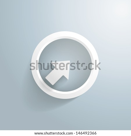 White arrow with circle on the grey background. Eps 10 vector file. - stock vector