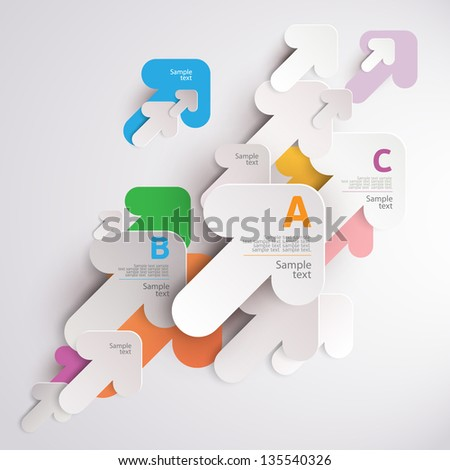 White arrows. Elements of infographics. - stock vector