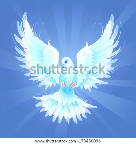 White, artistically painted, flying dove on a blue radiant background - stock vector