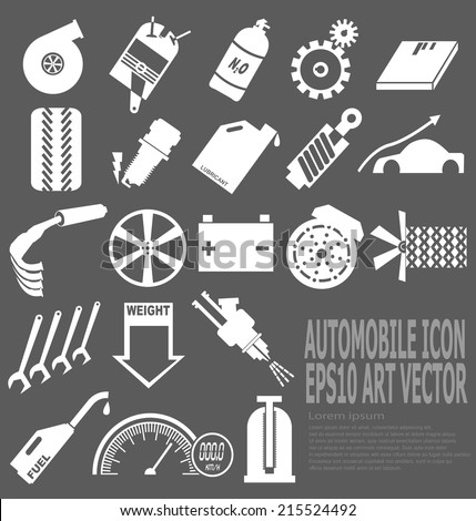 White automobile concerned icon on dark gray background (EPS10 vector) - stock vector