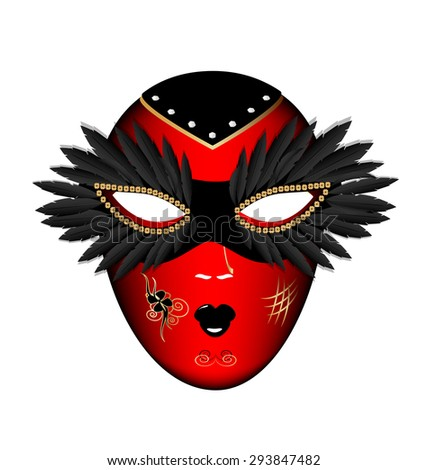 white background and the large black-red carnival mask - stock vector