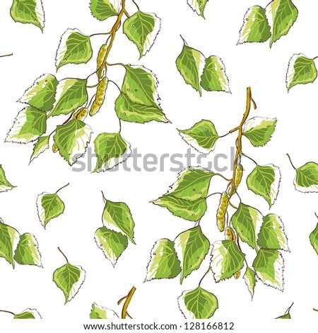 White background texture with birch leaves and branches - stock vector