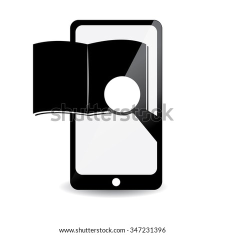 White background with a cellphone and an e-book icon - stock vector