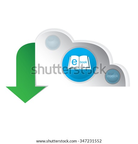 White background with an e-book icon on a cloud - stock vector