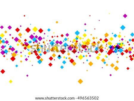 White background with color rhombs. Vector paper illustration.