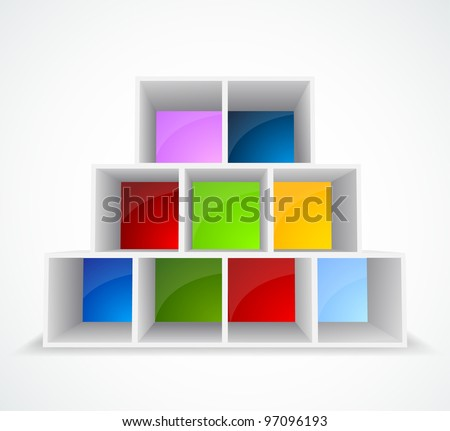 White background with different color bookshelf - stock vector