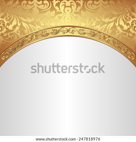 white background with golden ornaments - stock vector