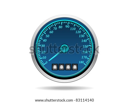 white background with isolated speedometer