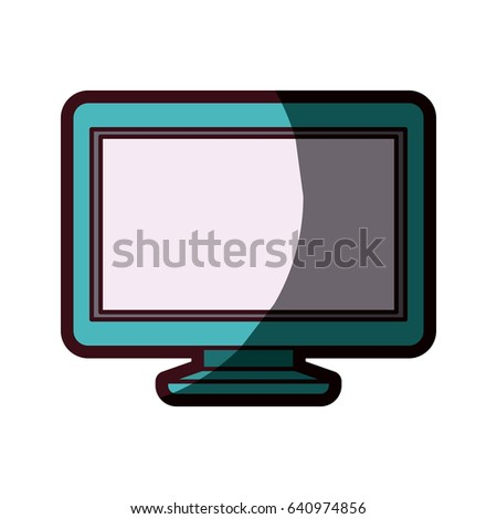 white background with lcd monitor aquamarine and thick contour vector illustration