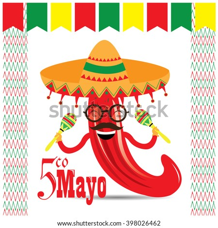 White background with ornaments and a pepper with shakers and a traditional hat. Cinco de Mayo background.