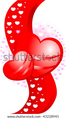 white background with red heart in vector format.
