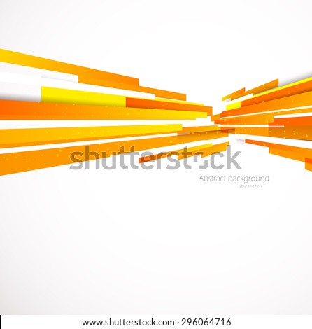 White background with straight orange perspective lines - stock vector