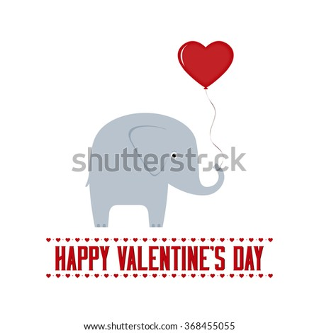 White Background With Text And An Elephant For Valentineu0027s Day