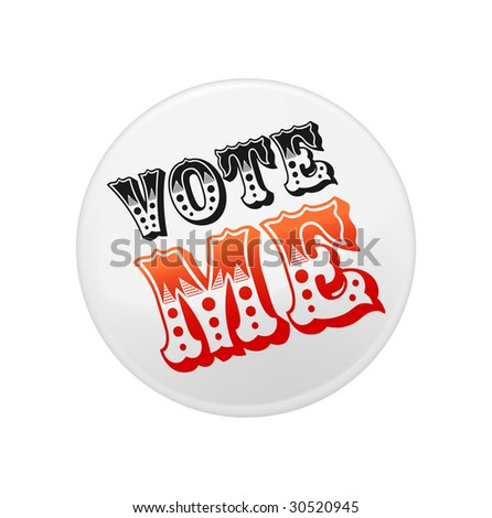 White badge template with sample printing. Contains gradient mesh elements. - stock vector