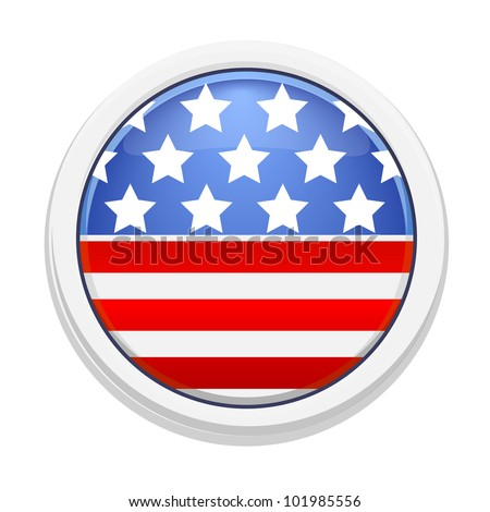 White badge with the image of the American flag - stock vector