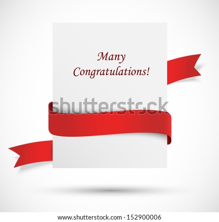 White banner with red ribbon - stock vector