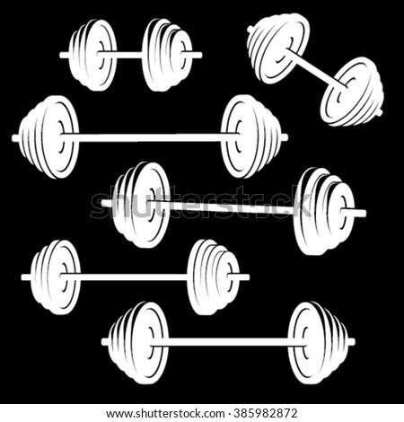 White barbell silhouettes isolated on black background - stock vector