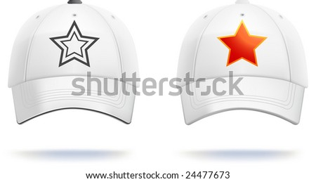 White baseball cap template (contains gradient mesh!). Small details can be easily adjusted. - stock vector