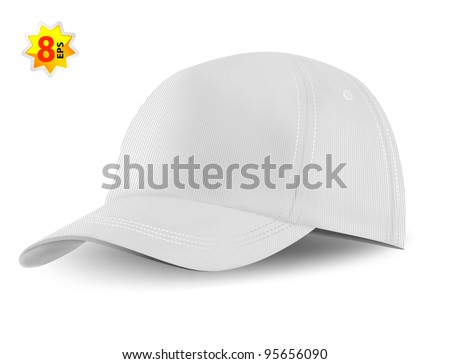 White baseball cap template. Mesh & gradients only. - stock vector