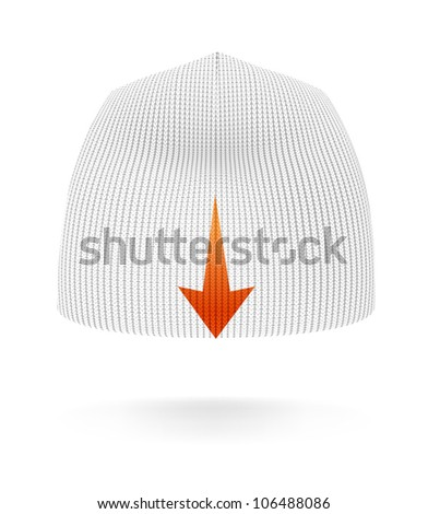 White BEANIE, back view. Extremely detailed VECTOR illustration, created with love to details. - stock vector