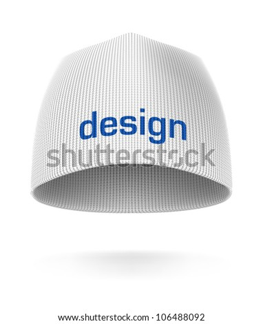 White BEANIE, front view. Extremely detailed VECTOR illustration, created with love to details. - stock vector