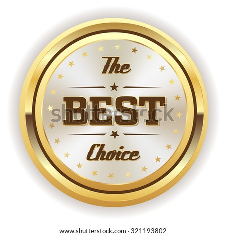 White best choice badge with gold border on white background