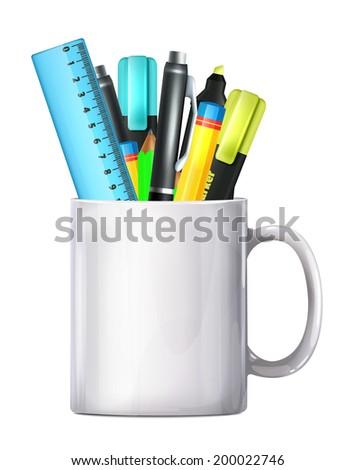 White Big Mug Pencil Box - stock vector