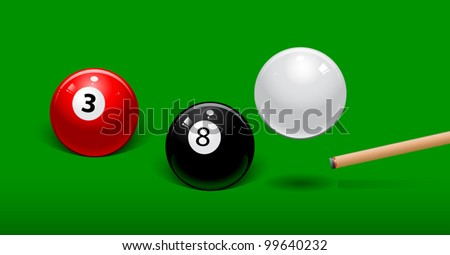 white billiard ball bounces over the black ball