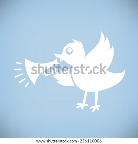 White Bird with Horn. Flat style - stock vector