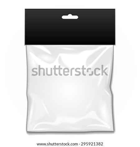 White Black Blank Plastic Pocket Bag. Transparent. With Hang Slot. Illustration Isolated On White Background. Mock Up Template Ready For Your Design. Vector EPS10 - stock vector