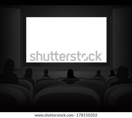 white black cinema screen with spectators in auditorium vector illustration - stock vector
