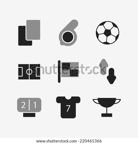 White-black football icons set. Isolated on white background. Vector illustration, eps 8. - stock vector