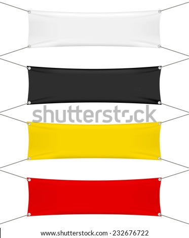 White, black, red, yellow textile banners set isolated on white background, vector illustration  - stock vector