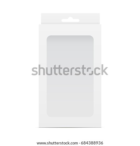 White blank box mockup with transparent window and hanging tab. Packaging for mobile phone accessories. Vector illustration