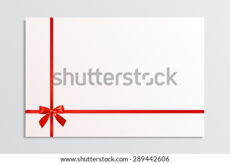 White blank card with a red bow and ribbons. Design element. Vector illustration - stock vector