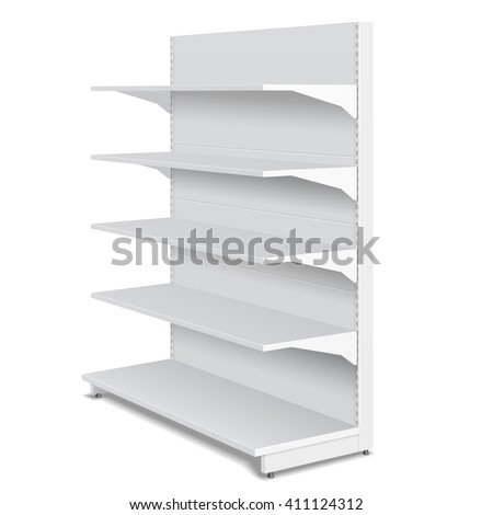 White Blank Empty Showcase Displays With Retail Shelves Products 3D On White Background Isolated. Ready For Your Design. Product Packing. Vector EPS10