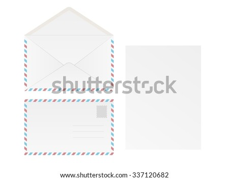 white blank envelope and paper on white background, isolated