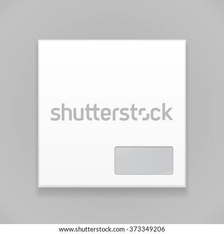White Blank Envelope. Illustration Isolated On Gray Background. Mock Up Template Ready For Your Design. Vector EPS10 - stock vector
