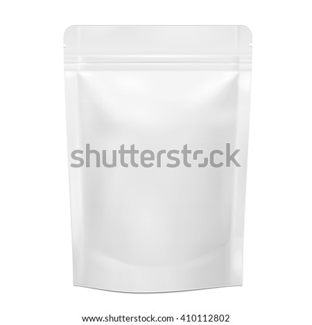 White Blank Foil Food Doy Pack Stand Up Pouch Bag Packaging With Zipper. Illustration Isolated On White Background. Mock Up, Mockup Template Ready For Your Design. Vector EPS10 - stock vector