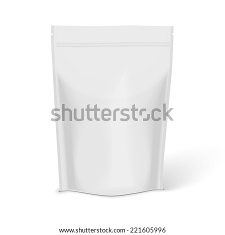 White Blank Foil Food Illustration Isolated On White Background. Product Packing Vector  - stock vector