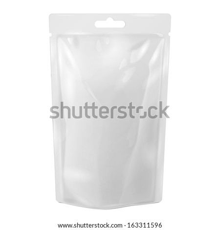 White Blank Foil Food Or Drink Bag Packaging With Hang Slot Blister. Illustration Isolated On White Background. Mock Up, Mockup Template Ready For Your Design. Vector EPS10 - stock vector