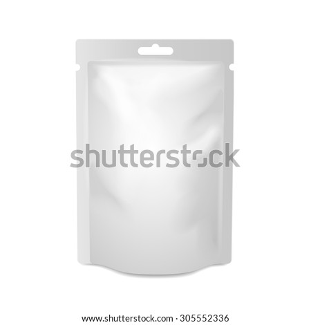 White blank foil food or drink bag packaging with hang slot blister. Plastic pack template ready for your design.  Vector  - stock vector