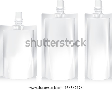 White Blank Foil Food Or Drink Bag Packaging With Lid. Plastic Pack Template Ready For Your Design. Vector EPS10 - stock vector