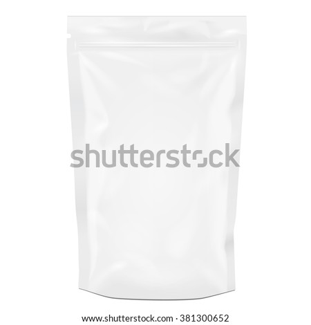 White Blank Foil Food Or Drink Doy pack Bag Packaging. Illustration Isolated On White Background. Mock Up, Mockup Template Ready For Your Design. Vector EPS10
