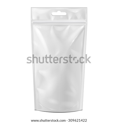 White Blank Foil Food Or Drink Doypack Bag Packaging With Hang Slot. Illustration Isolated On White Background. Mock Up Template Ready For Your Design. Vector EPS10 - stock vector