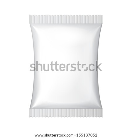 White Blank Foil Food Snack Sachet Bag Packaging For Coffee, Salt, Sugar, Pepper, Spices, Sachet, Sweets, Chips, Cookies Or Candy. Plastic Pack Template Ready For Your Design. Vector EPS10  - stock vector