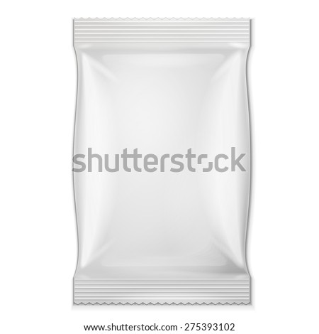 White Blank Foil Food Snack Sachet Bag Packaging For Coffee, Salt, Sugar, Pepper, Spices, Sachet, Sweets, Chips, Cookies. Illustration Isolated. Mock Up Template Ready For Your Design. Vector EPS10 - stock vector